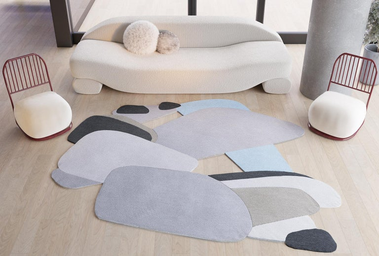 Modern Composition XXI - Interesting Design Hand Knotted Wool Silk Rug For Sale