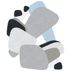 Composition XXI - Interesting Design Hand Knotted Wool Silk Rug