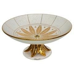 Compote Italian Ceramic Gold Glazed