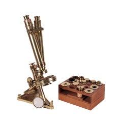Compound Binocular Microscope R & J Beck Brass Mahogany London England