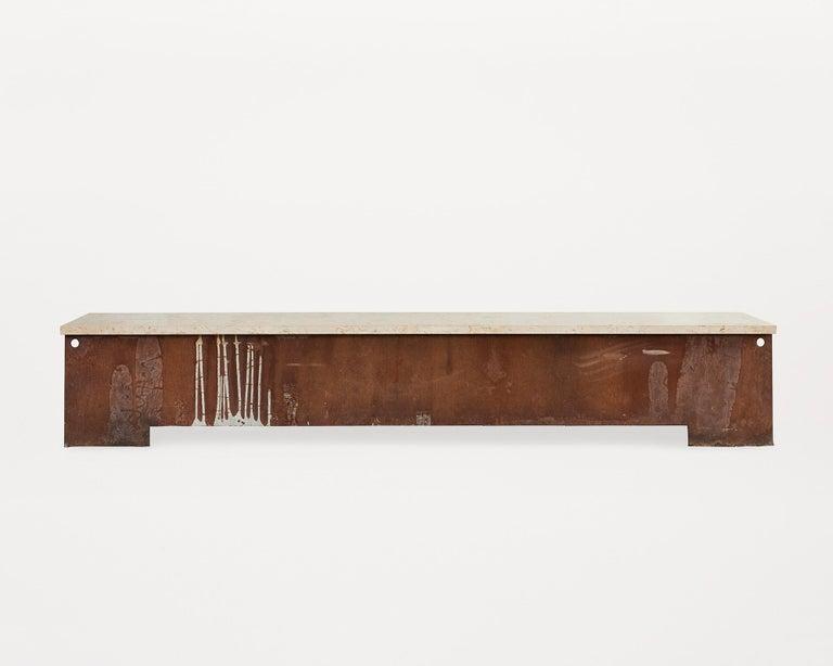 Comtemporary 64 Bench In Beige Travertin And Corten Steel For Sale