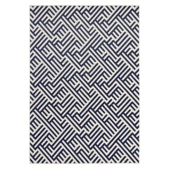 Comtemporary Outdoor Rug Waterproof Polypropylene Geometric Pattern Blue