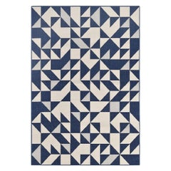 Comtemporary Outdoor Rug Waterproof Polypropylene Pattern Blue and White