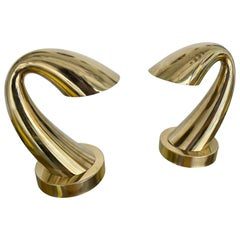 Comtemporary Pair of Brass Horn Tube Lamps, Italy