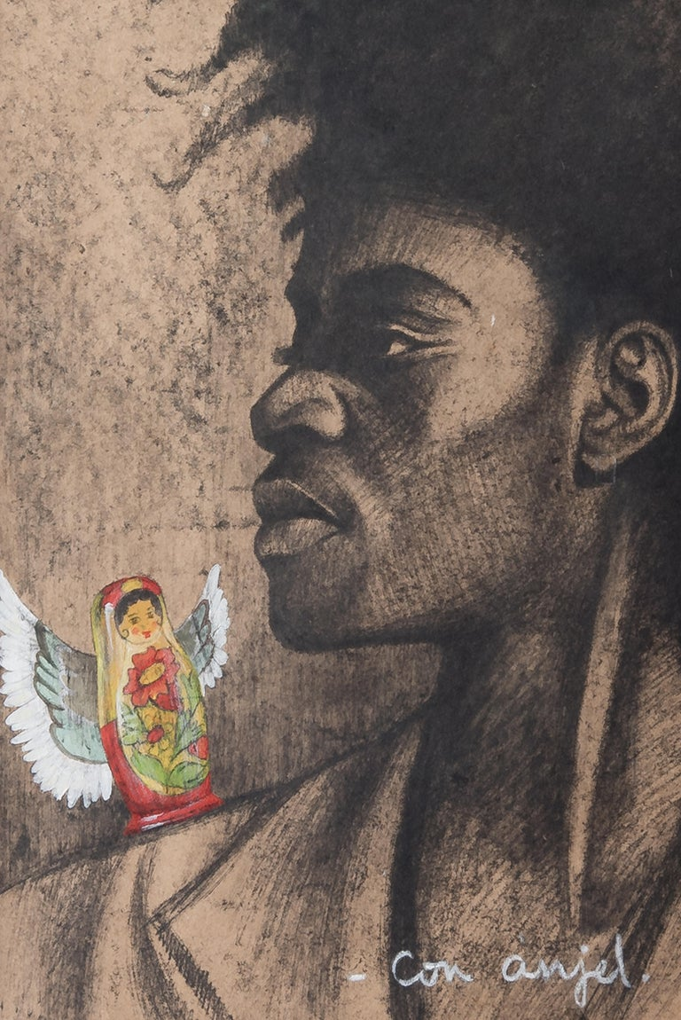 American Con Anjel '20th Century Pastel on Paper by Copperi', Cuba, 1995 For Sale