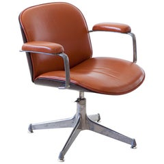 Conac Leather Swivel Chair by Ico Parisi for MIM Roma