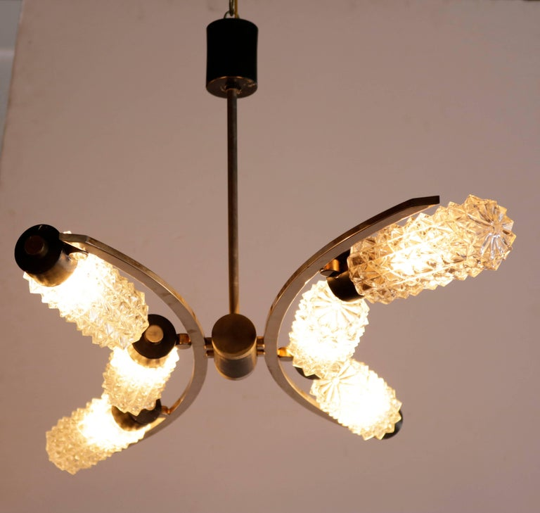 Mid-Century Modern Concave Curved 1950s Chandelier For Sale