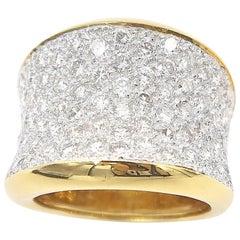 Concave Diamond Pavé 18 Karat Yellow Gold Ring