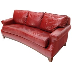 Concave Front Edge Tomato Red Leather Upholstery Couch Leather Sofa Thomasville