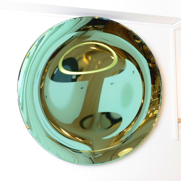 Mid-Century Modern Concave Mirror Glass in Green For Sale