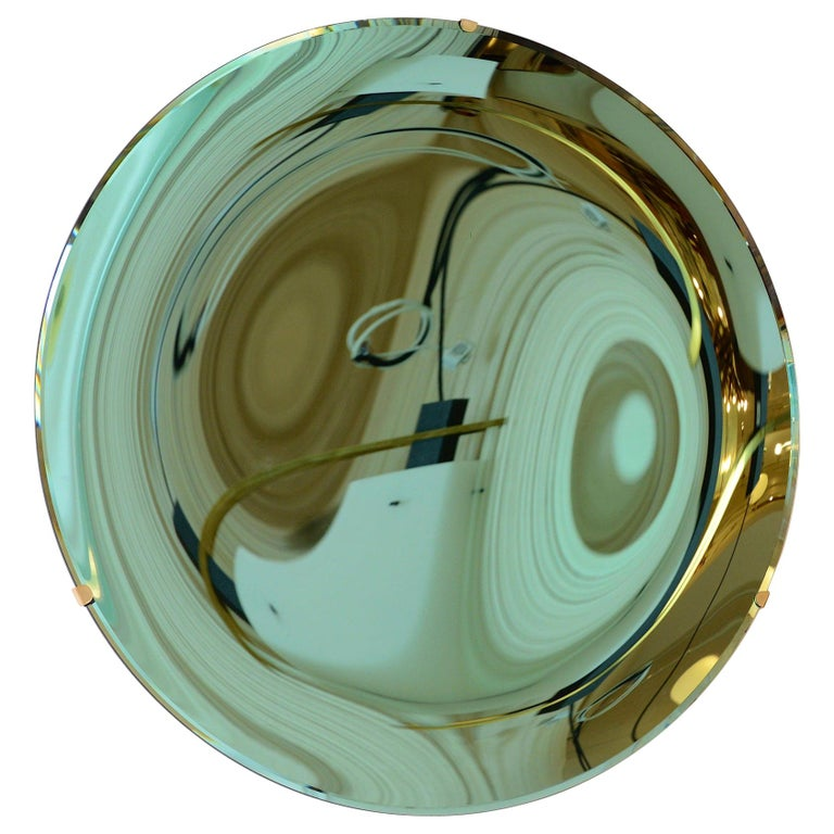 Concave Mirror Glass in Green For Sale