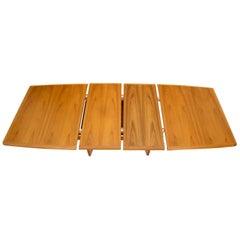Concave Shape Base Legs Self Storing Leaves Danish Teak Dining Table