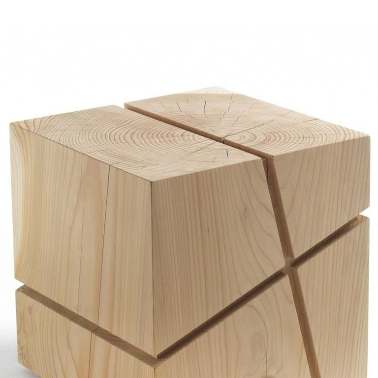 Hand-Crafted Concepta Cedar Stool in Natural Solid Cedar Wood For Sale