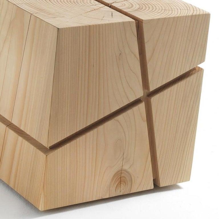 Contemporary Concepta Cedar Stool in Natural Solid Cedar Wood For Sale