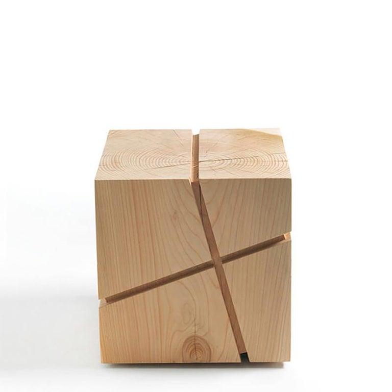 Concepta Cedar Stool in Natural Solid Cedar Wood For Sale 1