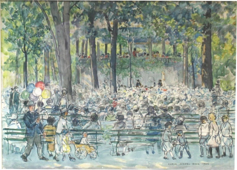 This beautiful watercolor depicts a scene from 1924, of a concert in Central Park. Translucent colors of greens and blues depict the conductor and his band performing in the Central Park band stand for a variety of listeners. A man at the lower left