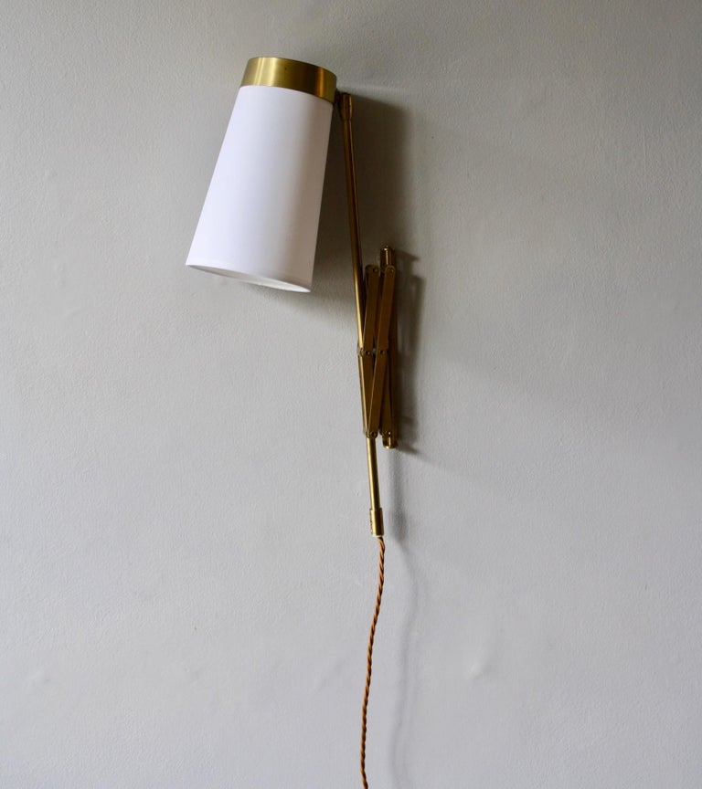 Concertina Wall Light in Polished Brass, Designed and Made in Denmark circa 1950 5