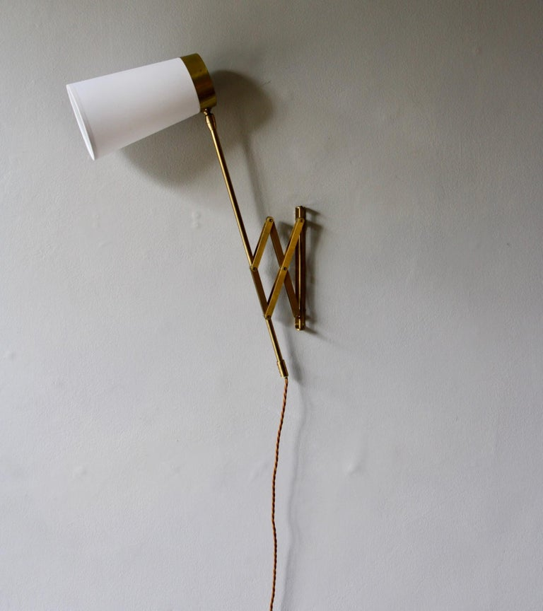 Concertina Wall Light in Polished Brass, Designed and Made in Denmark circa 1950 6