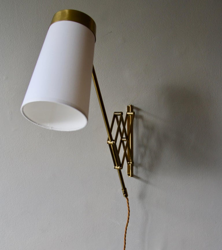 Concertina Wall Light in Polished Brass, Designed and Made in Denmark circa 1950 10