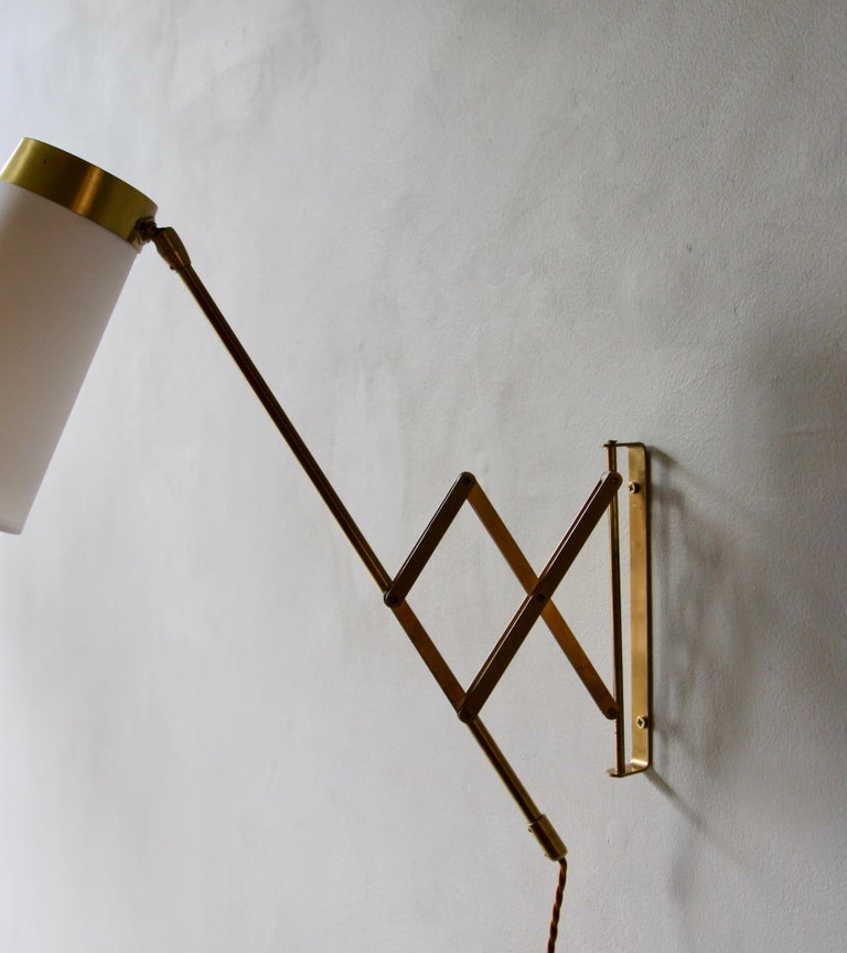 Concertina Wall Light in Polished Brass, Designed and Made in Denmark circa 1950 12