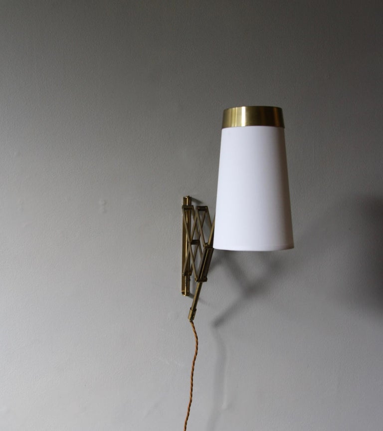 Danish Concertina Wall Light in Polished Brass, Designed and Made in Denmark circa 1950