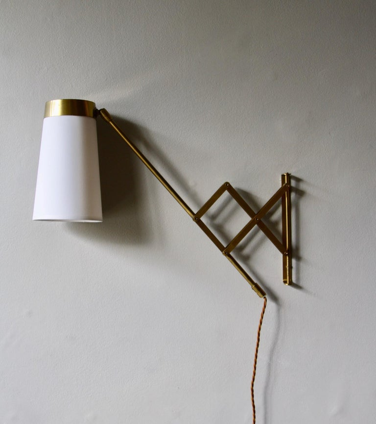 Concertina Wall Light in Polished Brass, Designed and Made in Denmark circa 1950 1