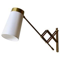 Concertina Wall Light in Polished Brass, Designed and Made in Denmark circa 1950