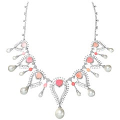 Conch and South Sea Pearls Necklace with Diamonds