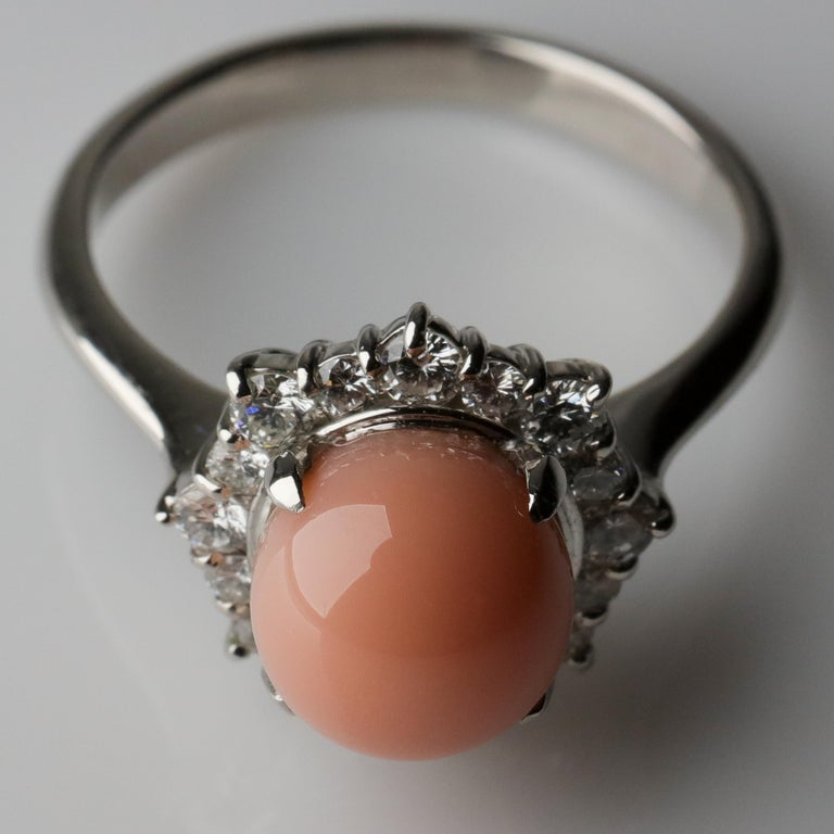 Conch Pearl and Diamond Halo Ring in Platinum For Sale 8