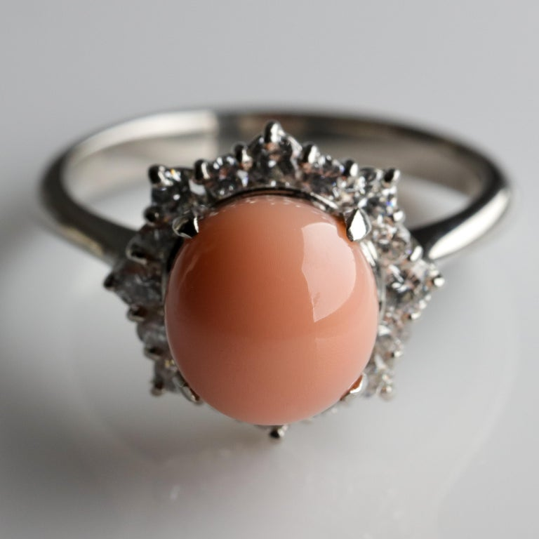 Conch Pearl and Diamond Halo Ring in Platinum For Sale 9
