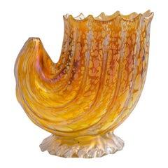 Conch Shell Vase Johann Loetz-Witwe Decor Candia Papillon, circa 1900