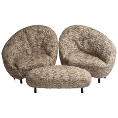 Conchas, Pair of Armchairs and Shared Footrest by Ayala Serfaty, Israel, 2020