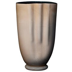 Unique Conchiglia Hand Blown Murano Glass White Gold Leaf Vase by Ermes Glass