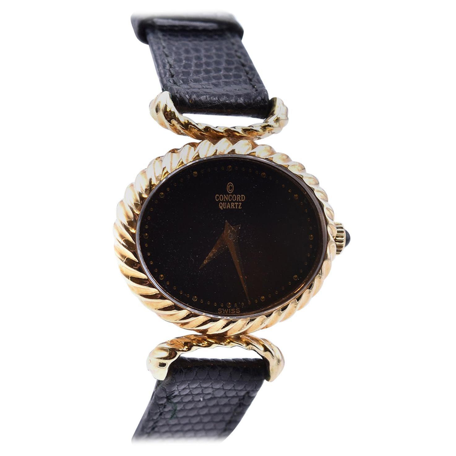 Concord 14 Karat Yellow Gold Oval Watch