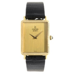 Concord 14 Karat Yellow Gold Vintage Rectangular Quartz Wrist Watch on Strap