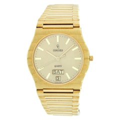 Concord 18k Yellow Gold Day Date Quartz Wrist Watch 50.58.218 Box & Papers