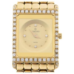 Concord Delirium Quartz with Diamond Dial and Bezel 18 Karat Yellow Gold Watch