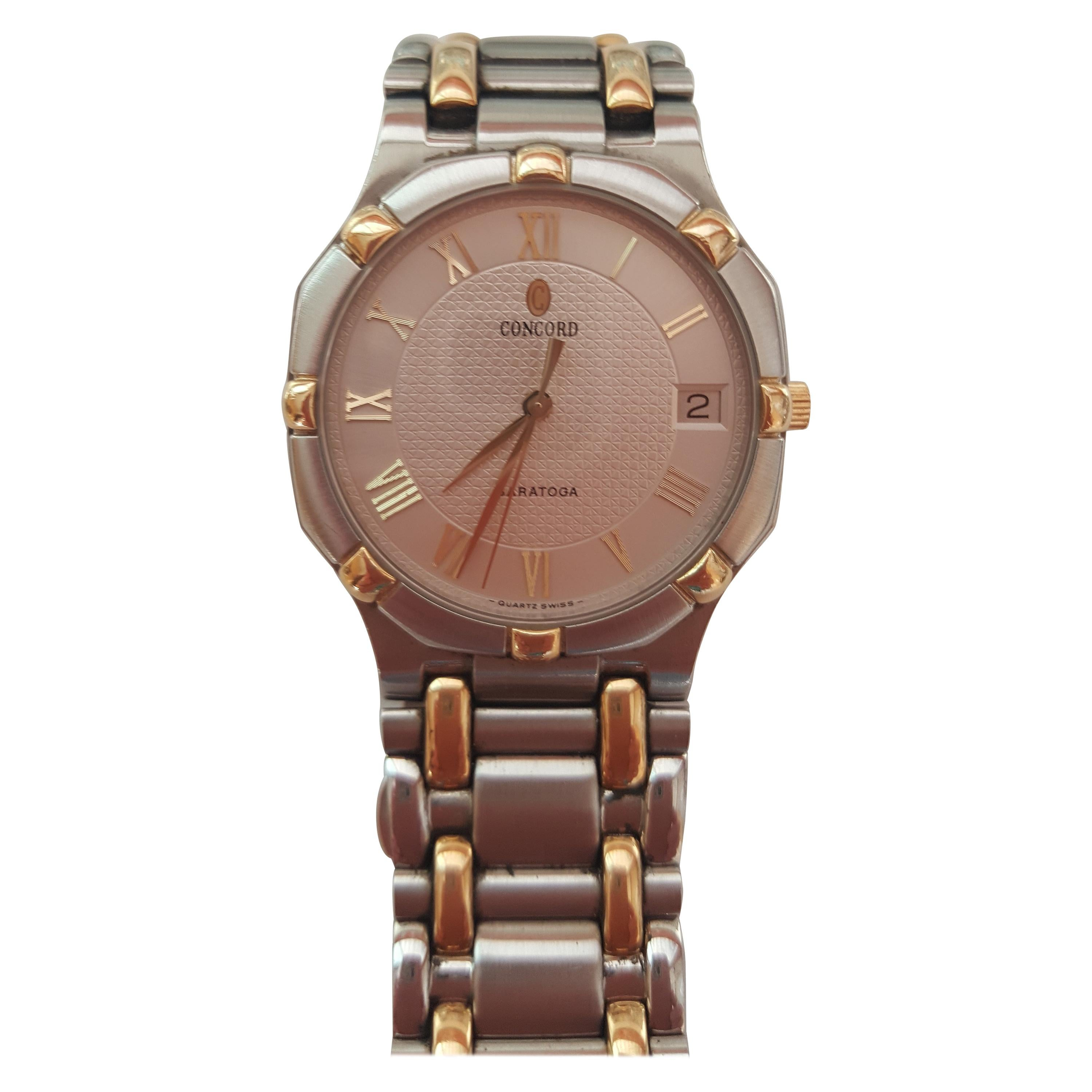 Concord Saratoga Men's Watch Gold and Stainless Steel 1558237 18 Karat