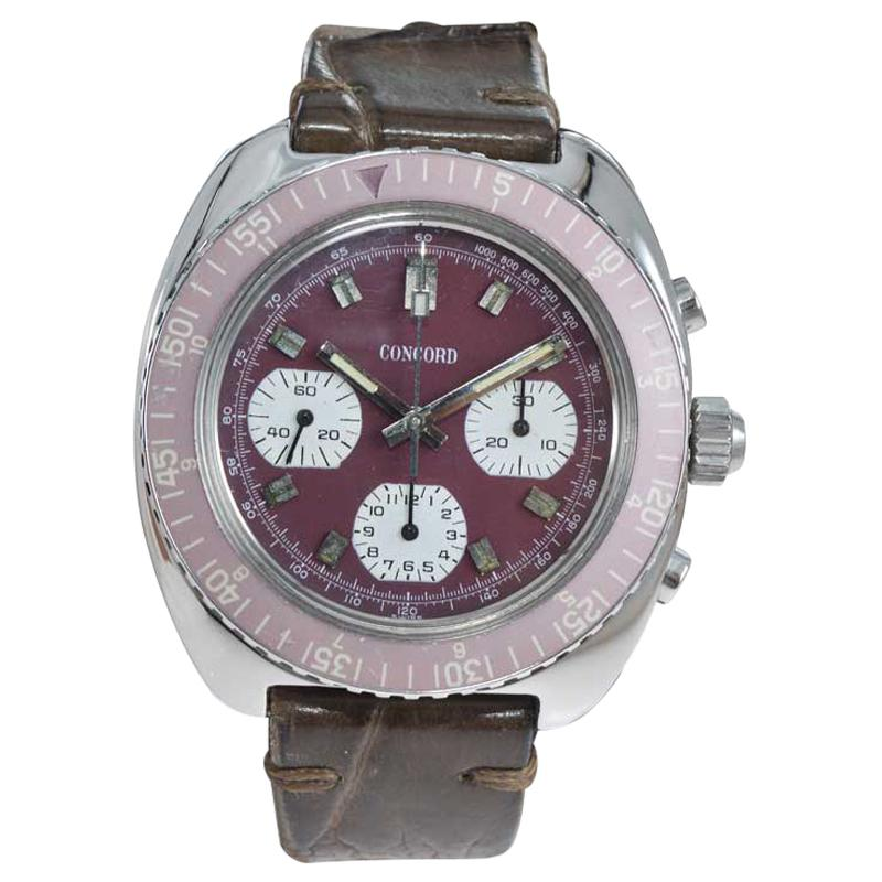 Concord Stainless Steel Three Register Chronograph Manual Watch