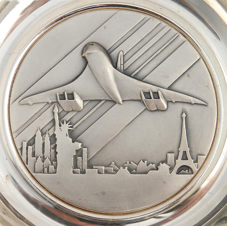Concorde Pin dish 10th anniversary memorabilia commemorative Paris New York Superb quality silver plate by Pichard hall marked to the base Offered to passengers who flew on the tenth anniversary flight Paris New York line On the 22 and 23rd
