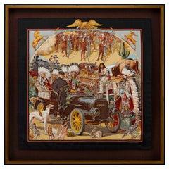 """Hermès Silk Scarf, """"Concours D'Elegance Limousines De Voyage"""" by Kermit Oliver"""