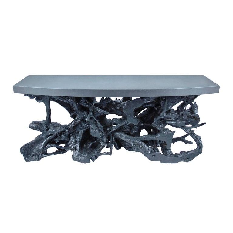 Black Concrete & Teak Console Table