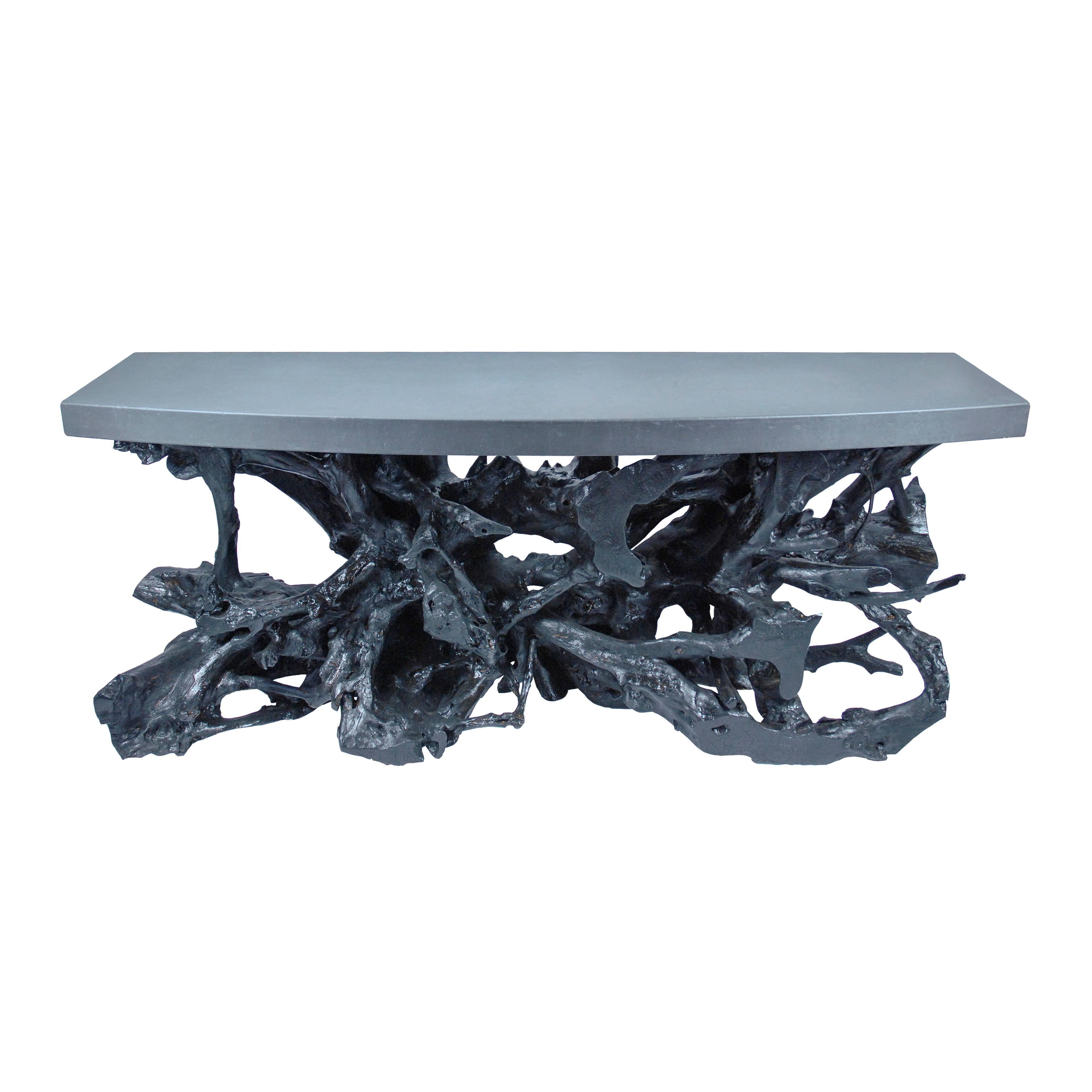 Black Concrete U0026amp; Teak Console Table