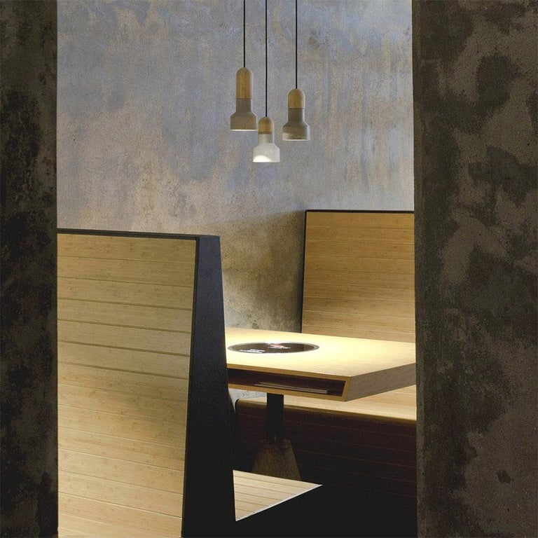 Concrete and Bamboo Ceiling Light 'Qie' For Sale at 1stdibs