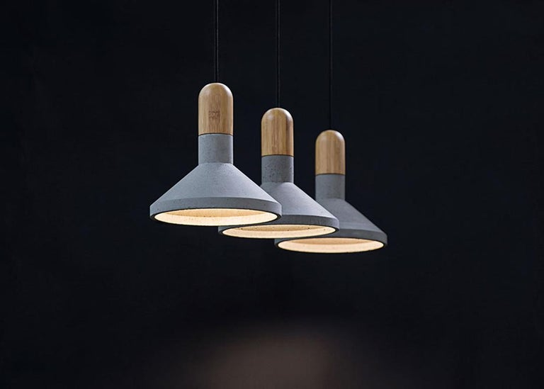 Industrial Concrete and Bamboo Ceiling Light 'Shang' For Sale
