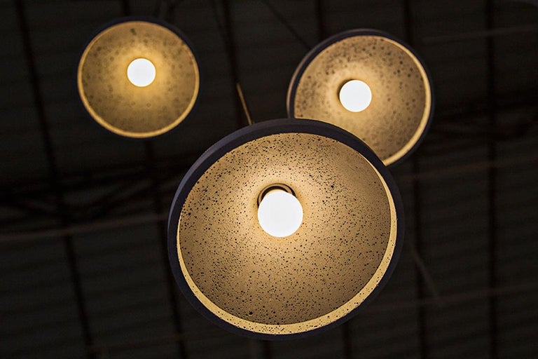 Chinese Concrete and Bamboo Ceiling Light 'Shang' For Sale