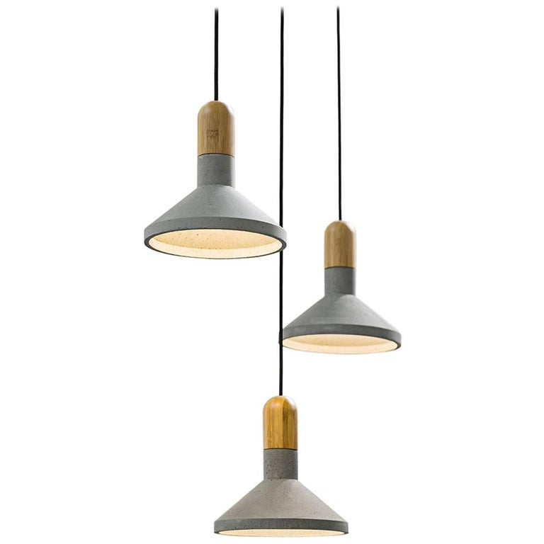 Concrete and Bamboo Ceiling Light 'Shang' For Sale