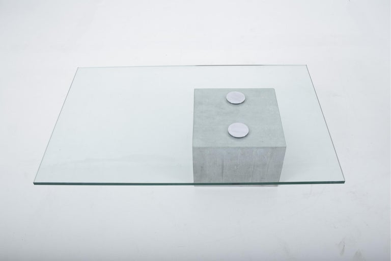 Mid-Century Modern Concrete and Cantilevered Glass Coffee Table, Sergio & Giorgio Saporiti, Italy For Sale