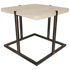 Concrete and Iron End or Coffee Table