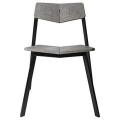 """Concrete and Powder Coated Steel Chair, """"H,"""" from Concrete Collection by Bentu"""